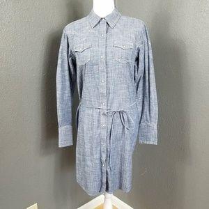 Ariat Bergen Shirt Dress M Western Chambray Snap